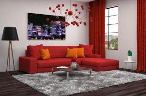 Diseño de la cortina de color rojo